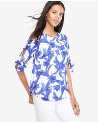 Ann Taylor Blue Tropical Garden Tie Sleeve Top