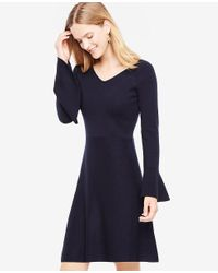 Ann Taylor | Blue Petite Double V Flare Sweater Dress | Lyst