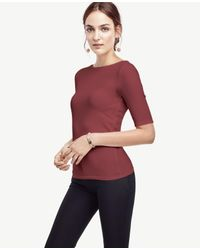 Ann Taylor Red Stretch Cotton Boatneck Tee