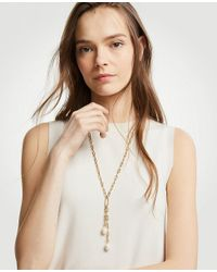 Ann Taylor - Metallic Double Pearlized Pendant Necklace - Lyst