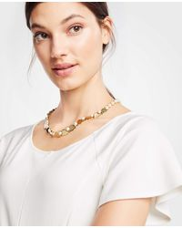 Ann Taylor - Metallic Pearlized Leaf Necklace - Lyst
