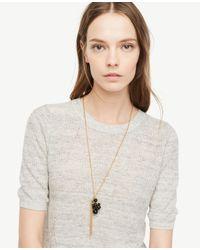 Ann Taylor - Black Bauble Pendant Necklace - Lyst