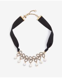 Ann Taylor Black Pearlized Pave Ribbon Necklace