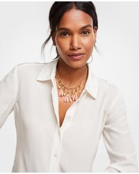 Ann Taylor - Multicolor Linear Stone Statement Necklace - Lyst