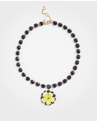 Ann Taylor Multicolor Seed Bead Flower Pendant Necklace