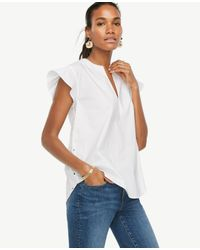 Ann Taylor White Petite Flounce Sleeve Lace Back Top