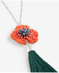 Ann Taylor | Multicolor Textured Floral Tassel Pendant | Lyst