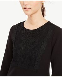 Ann Taylor - Black Lacy Fluted Shift Dress - Lyst