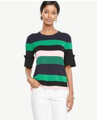 Ann Taylor Green Striped Ruffle Cuff Sweater