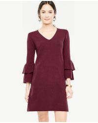 Ann Taylor - Multicolor Ruffle Sleeve Sweater Dress - Lyst