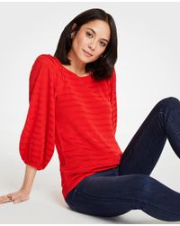 Ann Taylor Red Striped Balloon Sleeve Sweater