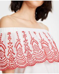 Ann Taylor White Floral Embroidered Off The Shoulder Top