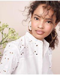 Ann Taylor White Petite Eyelet Detail Flounce Dress