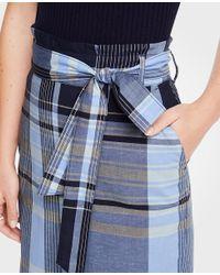 Ann Taylor Blue Madras Tie Waist Pencil Skirt