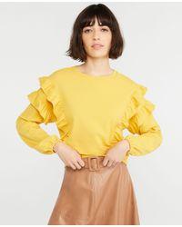 Ann Taylor Yellow Petite Ruffle Sweatshirt