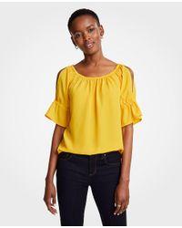 Ann Taylor Yellow Petite Cold Shoulder Top