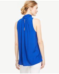 Ann Taylor Blue Petite Tie Neck Halter Shell