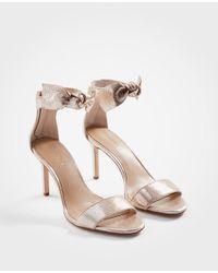 Ann Taylor Rosalyn Metallic Leather Leaf Heeled Sandals