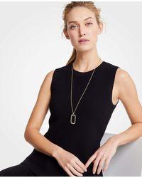 Ann Taylor - Metallic Pave Rectangle Pendant Necklace - Lyst