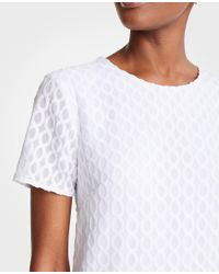 Ann Taylor - White Wavy Embroidery Shift Dress - Lyst