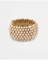 Ann Taylor Metallic Pearlized Statement Stretch Bracelet