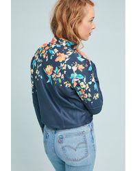 Anthropologie Blue Floral Moto Jacket