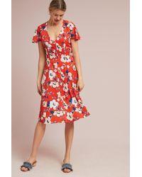 31256b5f3a8b Anthropologie Regents Floral Midi Dress in Orange - Lyst