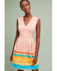 4c61ac4b144e Anthropologie Painterly Pleated Dress in Pink - Lyst