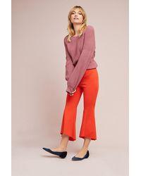 Anthropologie Red Mavis Soft Ruffle Trousers