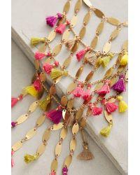 Anthropologie - Metallic Saffron Tassel Necklace - Lyst