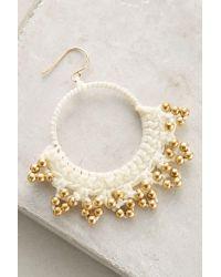 Serefina   White Crocheted Hoop Earrings   Lyst