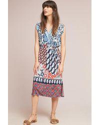 3f80bbfa7598 Anthropologie Patchwork Midi Dress in Blue - Lyst
