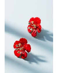 Jennifer Behr | Red Painted Blossom Post Earrings | Lyst