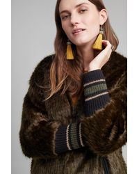 Ottod'Ame - Bryant Faux Fur Ribbed Cuff Coat, Green - Lyst