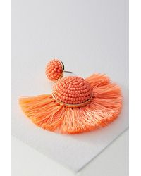 Anthropologie Orange Baublebar Fringed Drop Earrings