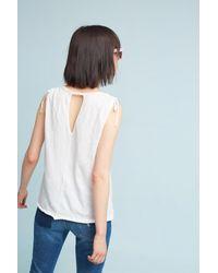 Anthropologie - White Sorena Tied-sleeve Top, Black - Lyst