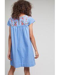 Seen, Worn, Kept Blue Lenna Embroidered Swing Dress