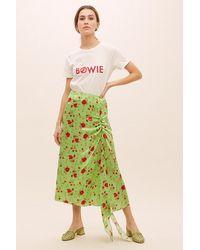 Anthropologie Green De La Vali Caroline Floral-print Skirt