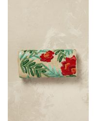 Anthropologie Green Isola Beaded Floral Clutch