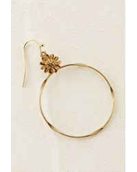 Anthropologie - Metallic Carina Floral Hoop Earrings - Lyst