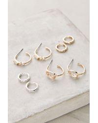 Anthropologie | Metallic Leila Mini Hoop Earrings Set | Lyst