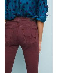 AG Jeans - Purple Ag The Abbey Sateen Mid-rise Skinny Ankle Jeans - Lyst