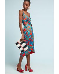 Nicole Miller Blue Electric Floral Wrap Dress