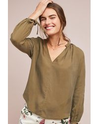 Anthropologie Green Sevier Peasant Top