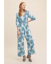 Anthropologie Blue Kachel Rainie Printed Jumpsuit
