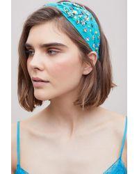 Anthropologie Blue Floral Embellished Headband