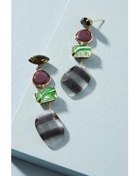 Serefina - Green Mixed Stone Drop Earrings - Lyst