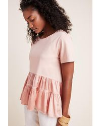Anthropologie Pink Iona Flounced Top