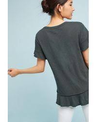 Left Of Center | Gray Ruffled V-neck Tee | Lyst