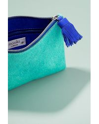 Anthropologie Green Leather-trimmed Pony Hair Clutch